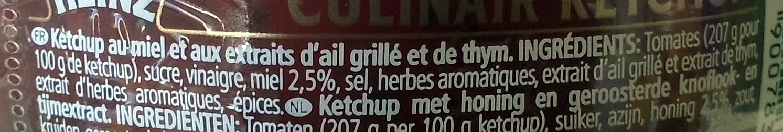 Culinair Ketchup Ail Grille thym et miel - Ingrédients