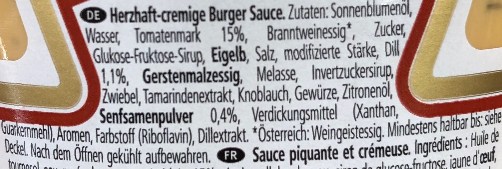Burger Sauce - Ingredienti - de