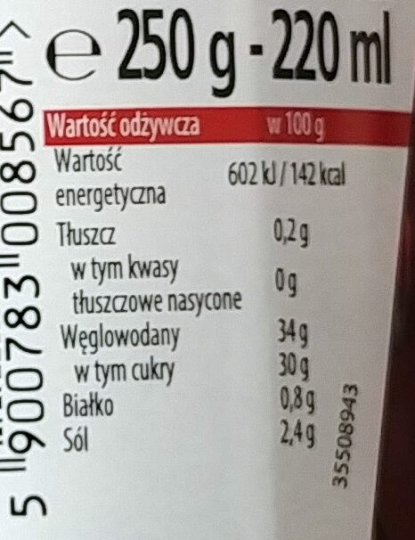 Sos Barbecue. Sos do grilla z cebulą i papryką - Informations nutritionnelles - pl