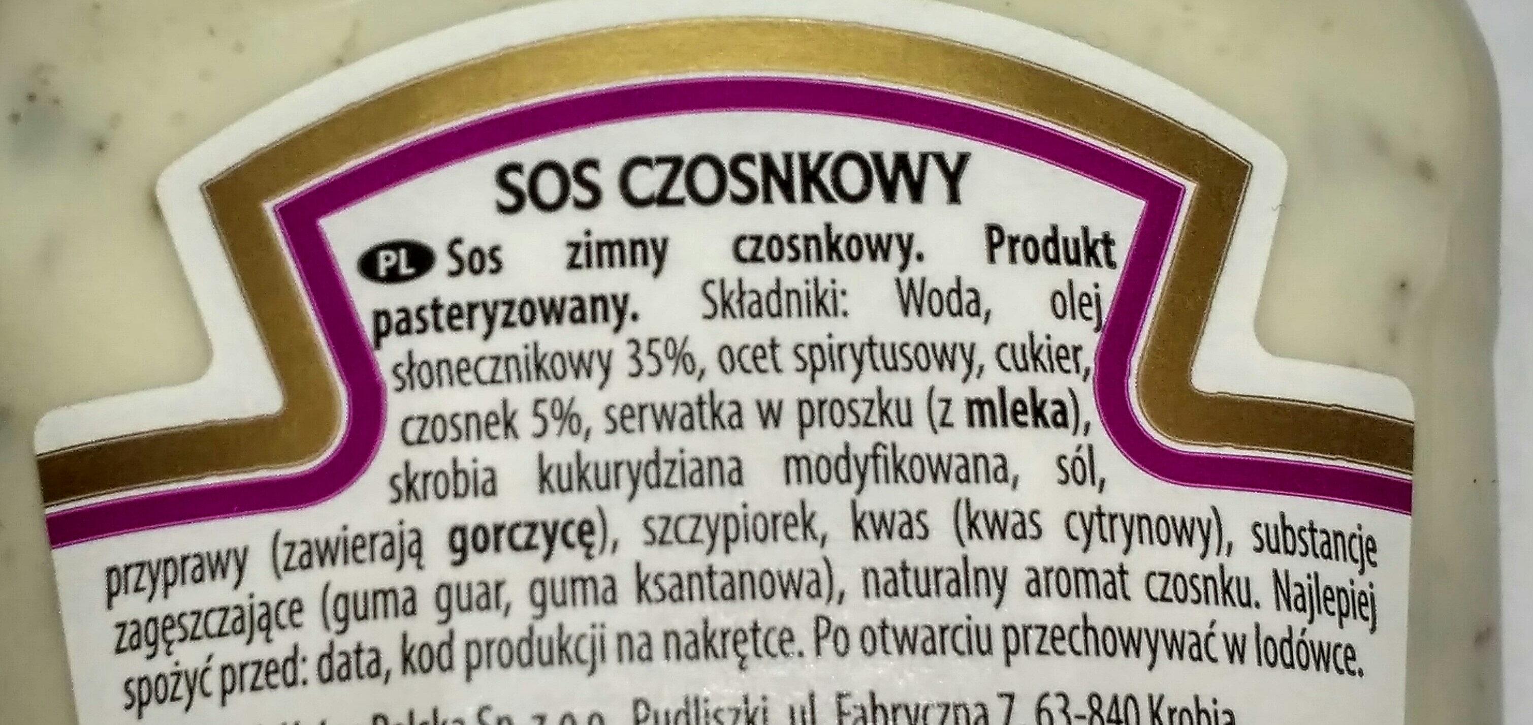Heinz sos czosnkowy - Ingredients