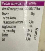 Heinz sos czosnkowy - Nutrition facts