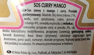 Sos curry mango - Składniki - pl