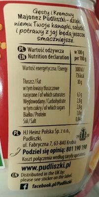Majonez gęsty kremowy - Nutrition facts - en