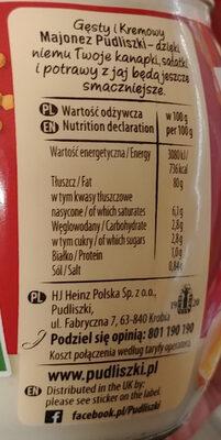 Majonez gęsty kremowy - Informations nutritionnelles - pl