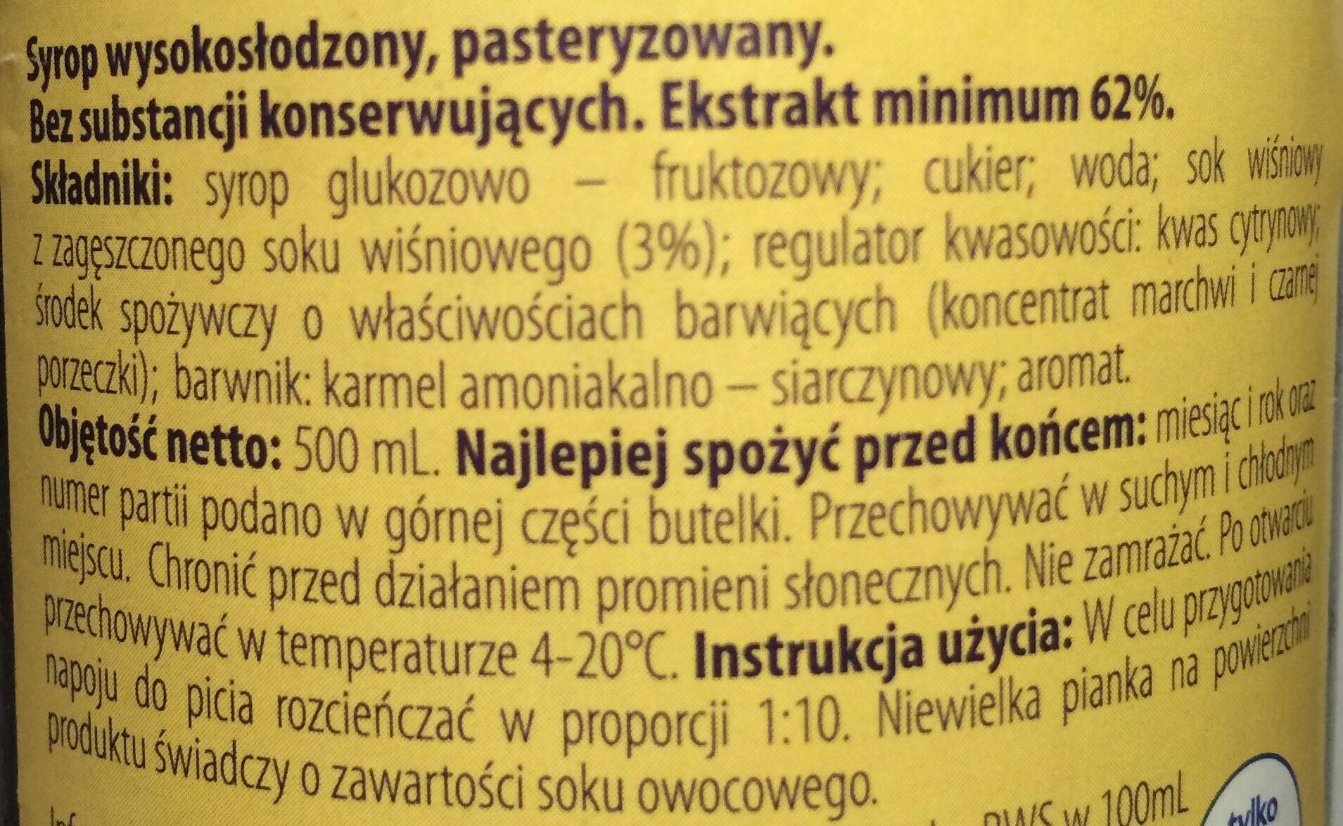 Syrop wysokosłodzony o smaku wiśnia - Składniki