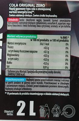 Napój gazowany typu cola o zmniejszonej wartości energetycznej - Składniki