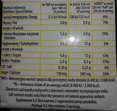 Łaciate Uht Milk 2.0% Fat 0.5 L - Wartości odżywcze - pl