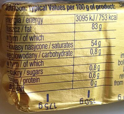 Masło ekstra 83% - Wartości odżywcze