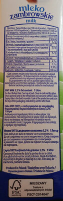 Mleko 3,2% - Wartości odżywcze