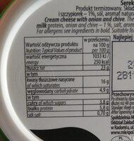 Serek śmietankowy z cebulą i szczypiorkiem - Voedingswaarden - pl