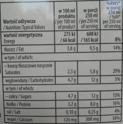 Mleko Łaciate Junior - Nutrition facts