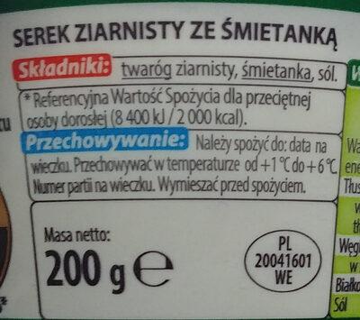 Serek ziarnisty ze śmietanką; Serek wiejski - Składniki