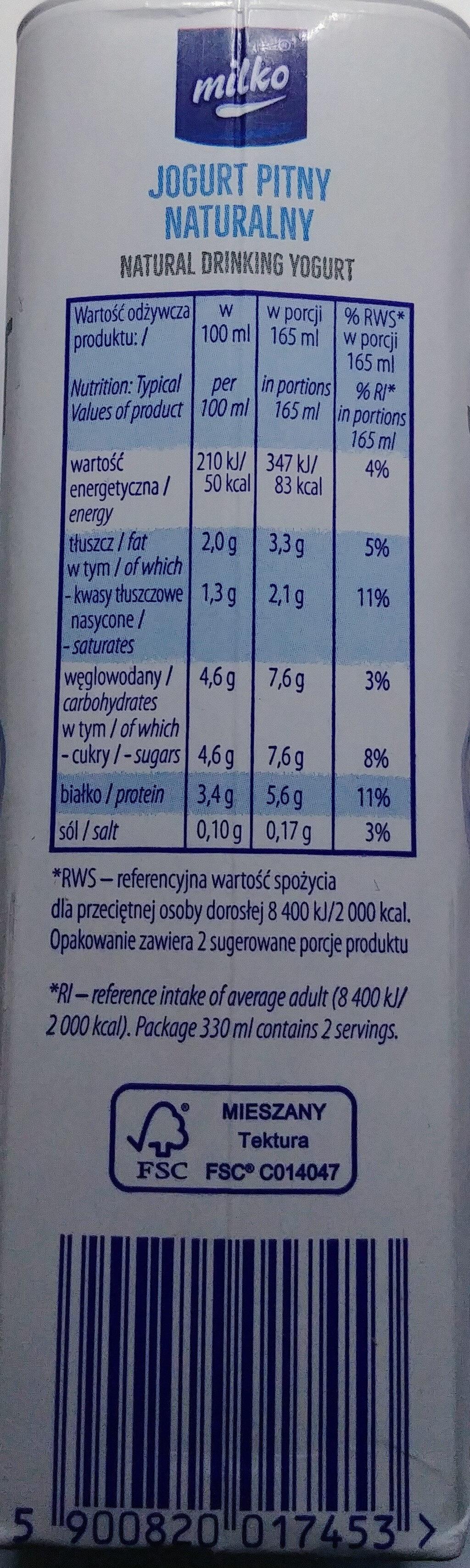 Jogurt naturalny - Wartości odżywcze