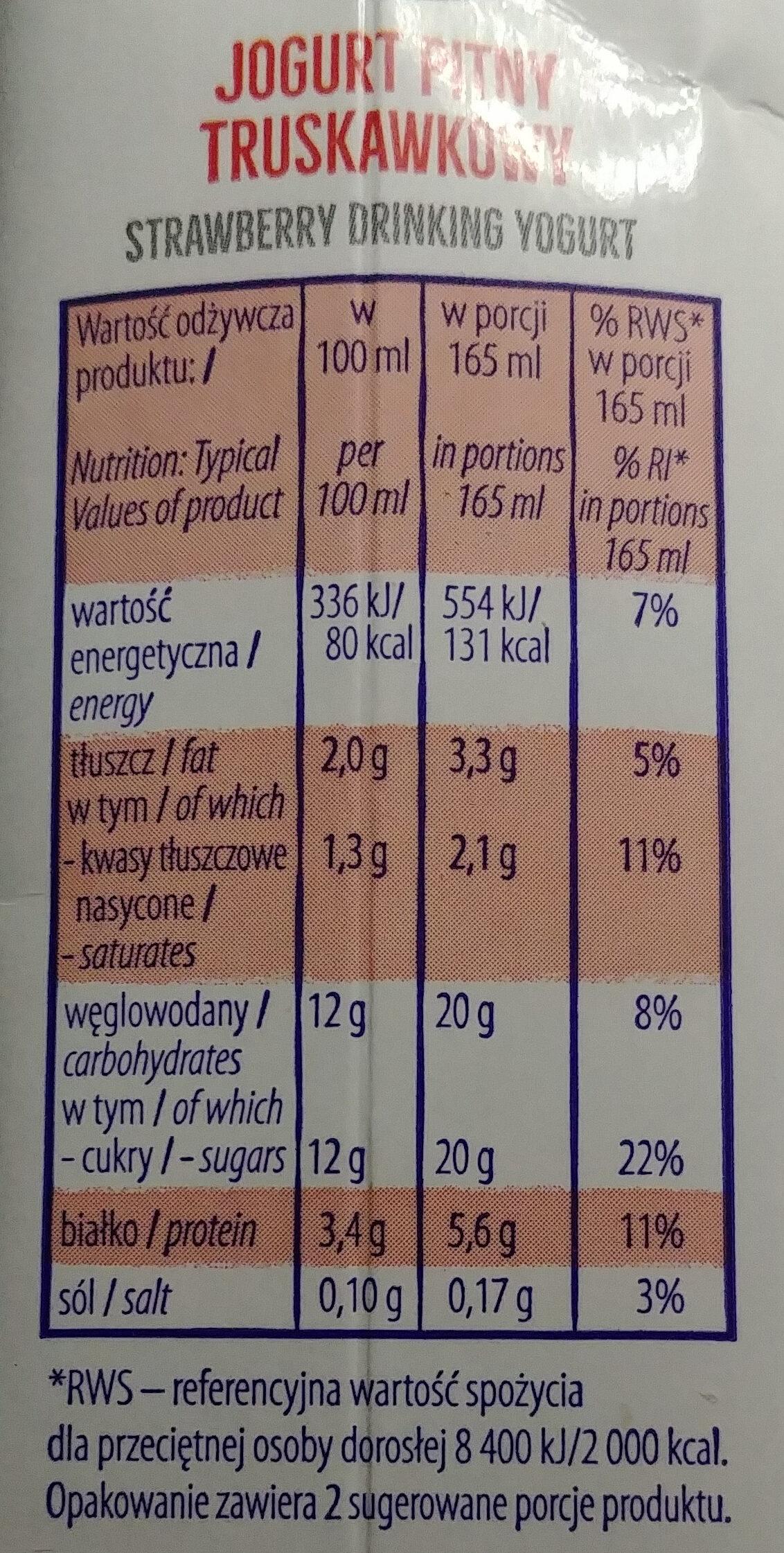 Jogurt pitny truskawkowy - Nutrition facts - pl