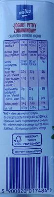 Jogurt pitny żurawinowy - Nutrition facts - pl