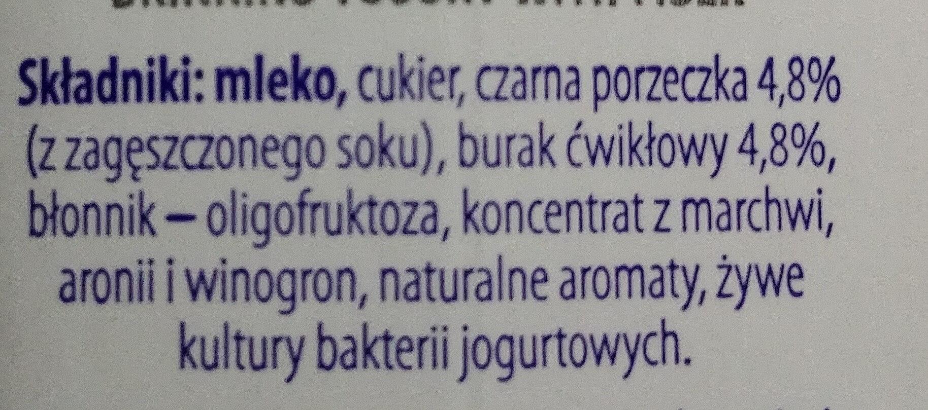 Jogurt pitny czarna porzeczka, burak z błonnikiem - Ingredients - pl