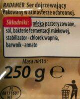Radamer ser dojrzewający - Składniki