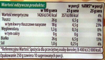 Radamer ser dojrzewający - Wartości odżywcze