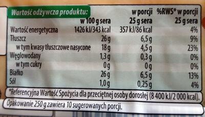 Radamer wędzony - Nutrition facts - pl