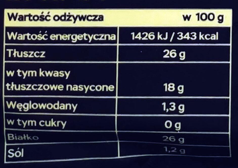 Ser dojrzewający Złoty Radamer - Wartości odżywcze