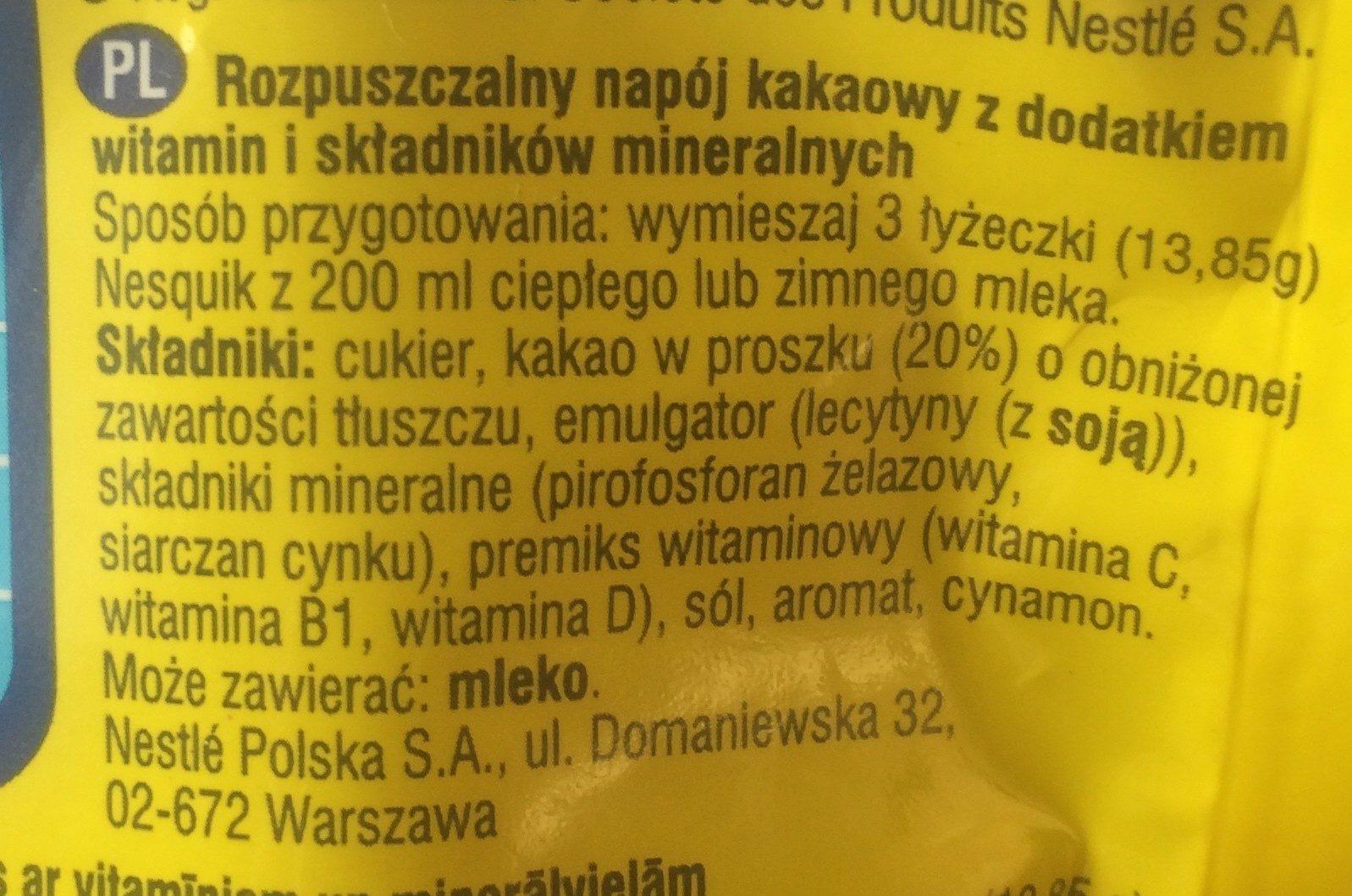 Rozpuszczalny napój kakaowy z dodatkiem witamin i stadników mineralnych. - Ingrédients - pl