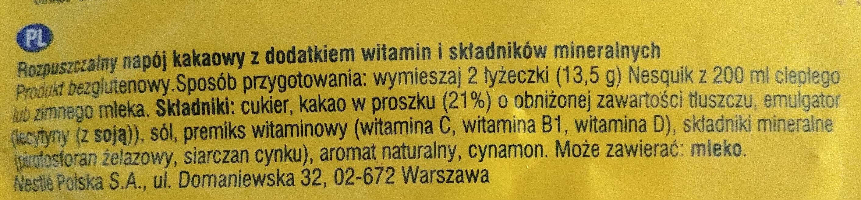 Rozpuszczalny napój kakaowy z dodatkiem witamin i składników mineralnych - Składniki