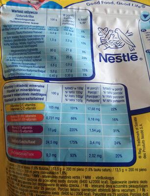 Rozpuszczalny napój kakaowy z dodatkiem witamin i składników mineralnych - Wartości odżywcze