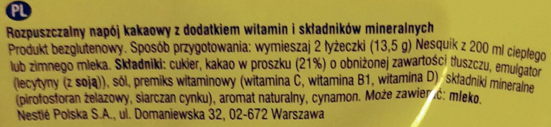Rozpuszczalny napój kakaowy z dodatkiem witamin i składników mineralnych. - Składniki - pl