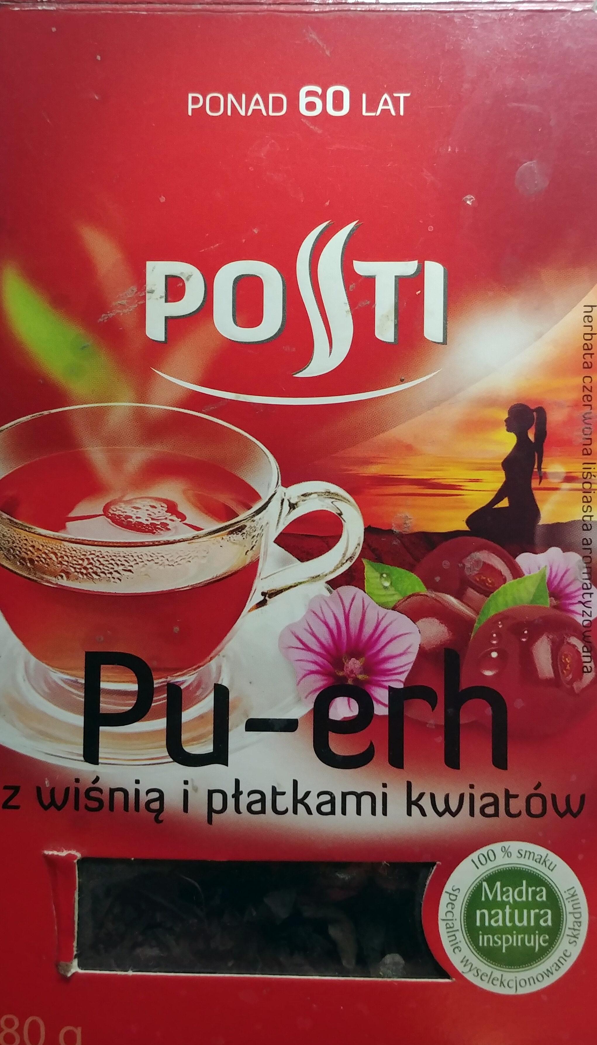 Pu-erh herbata czerwona liściasta z wiśnią i płatkami kwiatów - Produkt