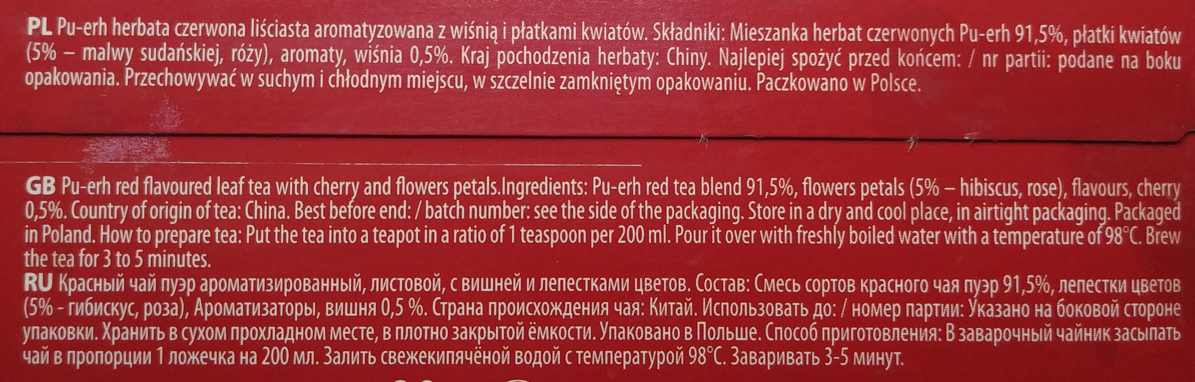 Pu-erh herbata czerwona liściasta z wiśnią i płatkami kwiatów - Składniki