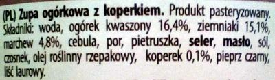 Cucumber soup with dill - Składniki - pl