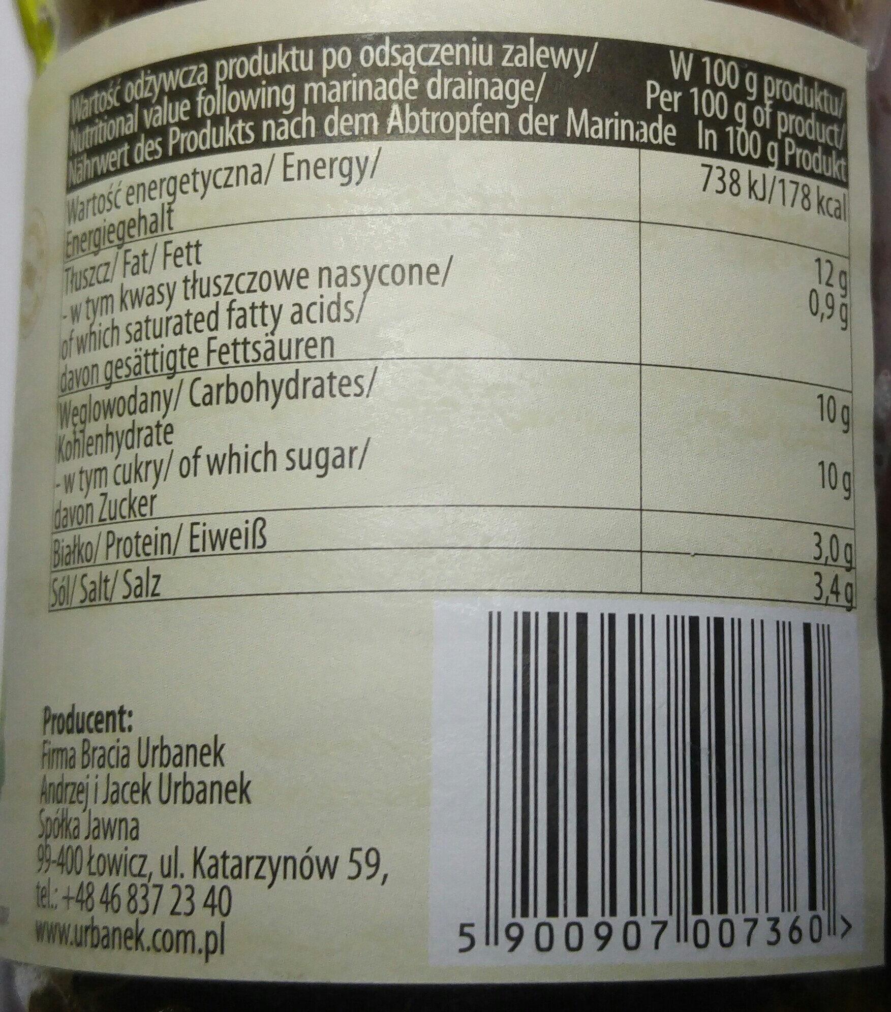 Pomidory suszone w oleju z ziołami. - Nutrition facts - pl