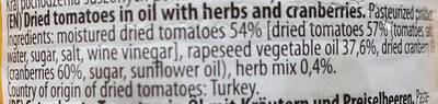 Pomidory suszone w oleju z ziołami i żurawiną - Ingredients - en