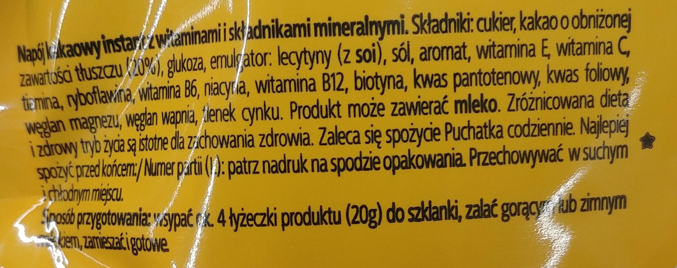 Napój kakaowy instant z witaminami i składnikami mineralnymi. - Ingredients - en