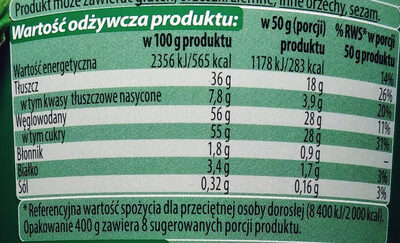 Krem o smaku czekoladowo-orzechowym - Wartości odżywcze - pl