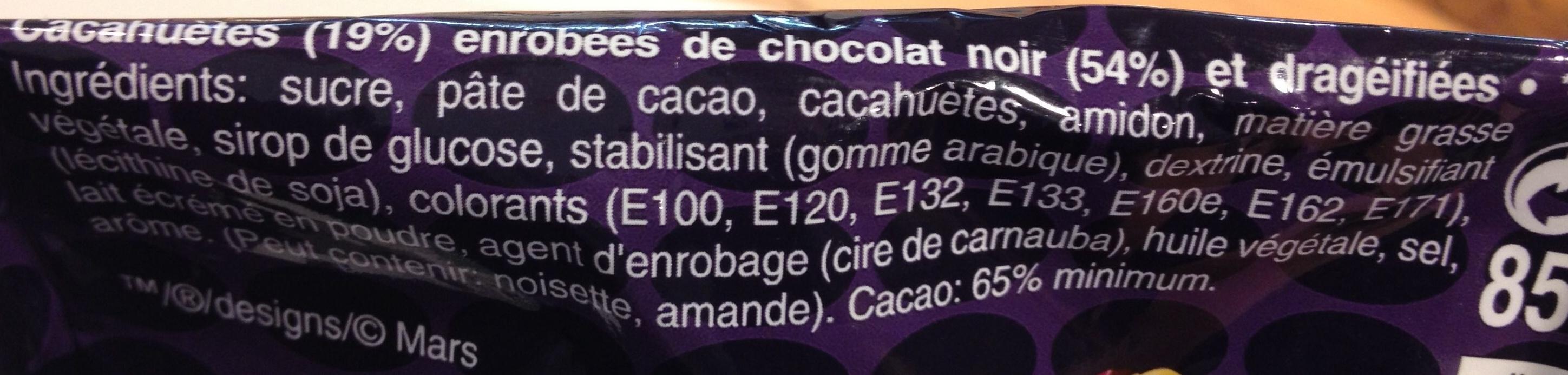 Chocolat noir et cacahuète - Ingredients - fr