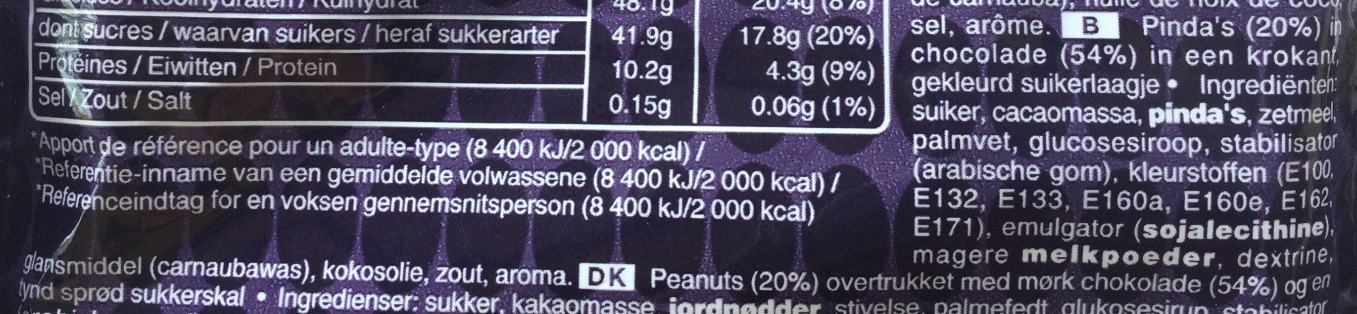 Intense 65 % Cacao, Chocolat Noir et Cacahuète - Ingrediënten