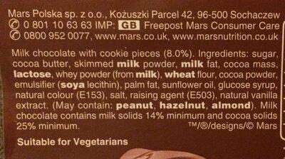 Galaxy Cookie Crumble 114grams - Ingrédients - en
