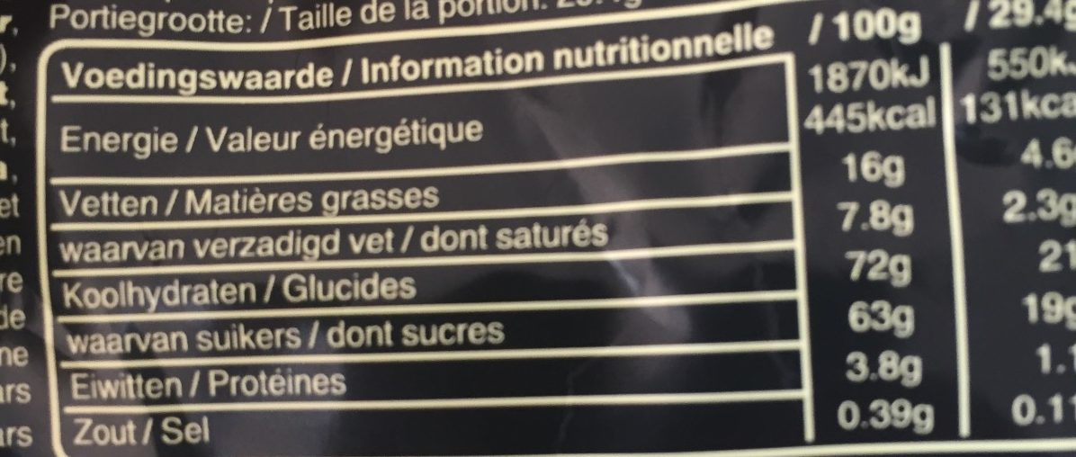 Mars - Informations nutritionnelles