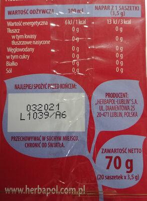 Herb. aronia Herbapol 20SZT - Wartości odżywcze - pl