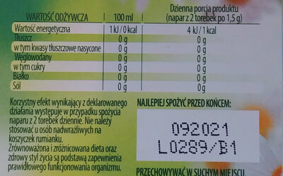 Rumianek - Nutrition facts - pl
