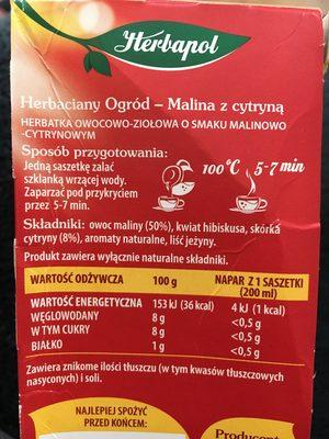Herb. malina / Cytry. herbapol20szt - Ingredients - fr