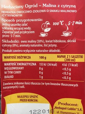 Herb. malina / Cytry. herbapol20szt - Nutrition facts - fr
