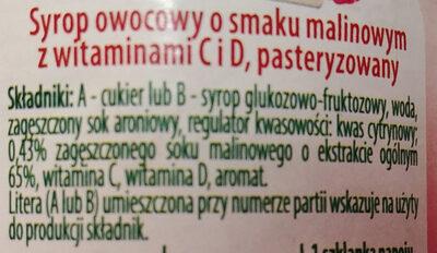 Syrop owocowy o smaku malinowym z witaminą C i D - Składniki