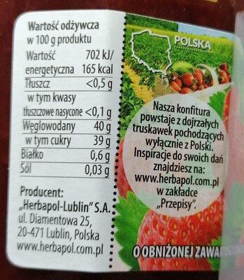 Konfitura ekstra z truskawek o obniżonej zawartości cukru. - Nutrition facts