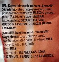 Karmelki twarde mleczne - Składniki - pl
