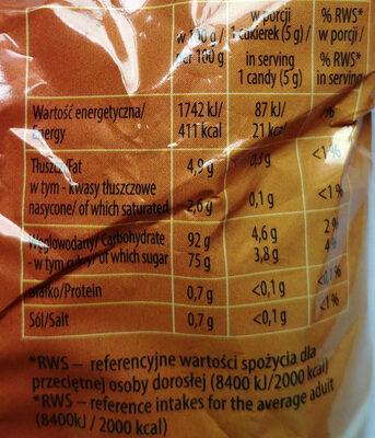 Karmelki twarde mleczne - Wartości odżywcze - pl