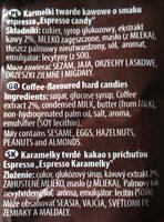 Karmelki twarde kawowe o smaku espresso - Składniki