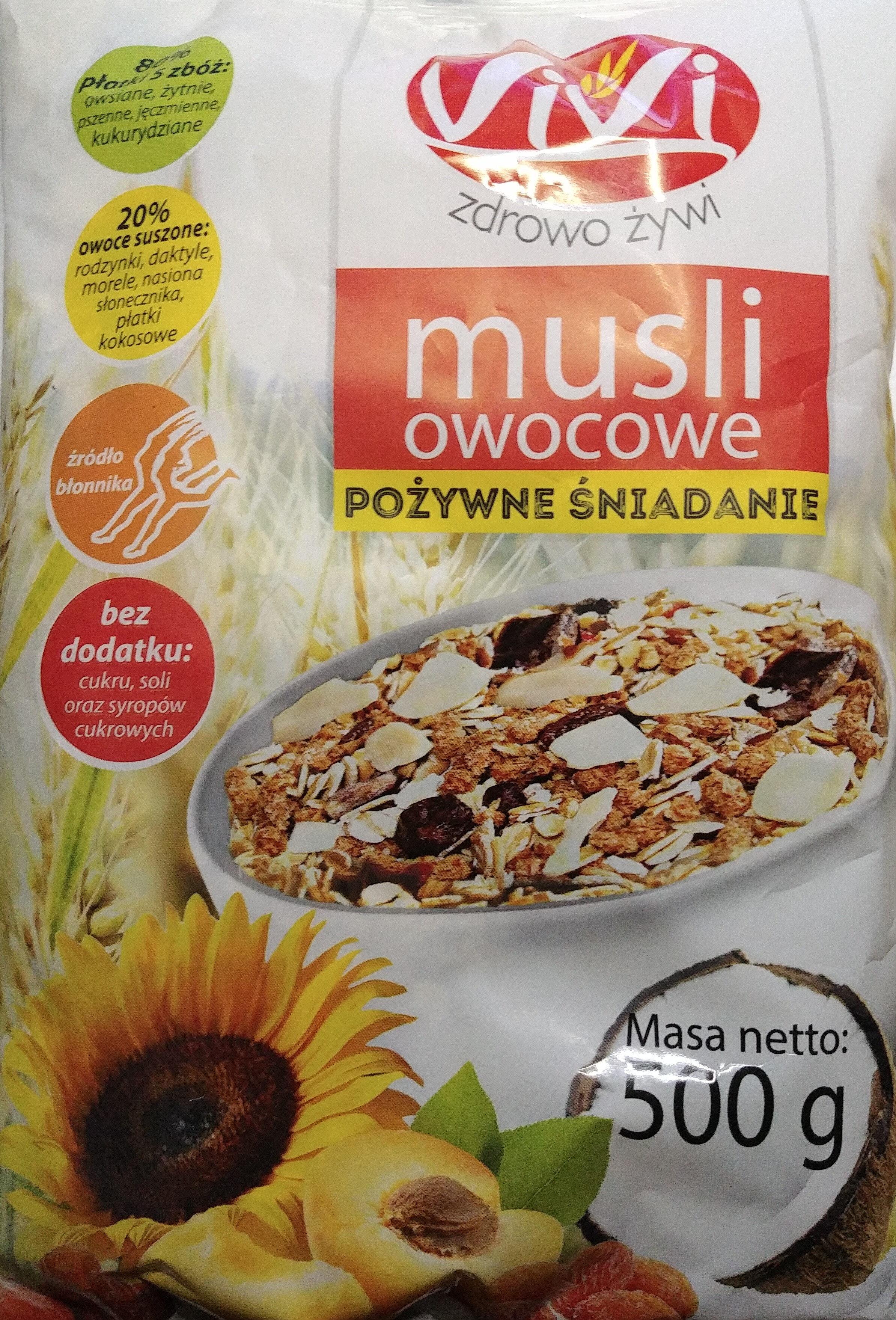 Musli owocowe pożywne śniadanie. - Produkt - pl
