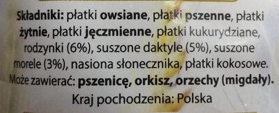 Musli owocowe pożywne śniadanie. - Ingrediënten - pl